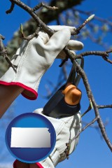 kansas map icon and a tree being trimmed with pruning shears